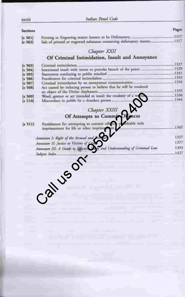 [LexisNexis] Universal Indian Penal Code (IPC) by KD Gaur Table of Content