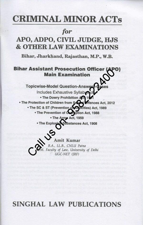 Singhal's Criminal Minor Act for APO,ADPO,Civil Judge,HJS by Amit Kumar content page 2
